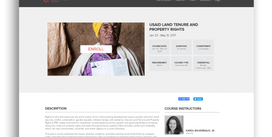 Enrollment screen for USAID's MOOC